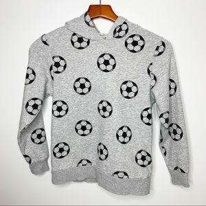 H&M Boys Grey Soccer Ball Hoodie Sweatshirt 8-10Y